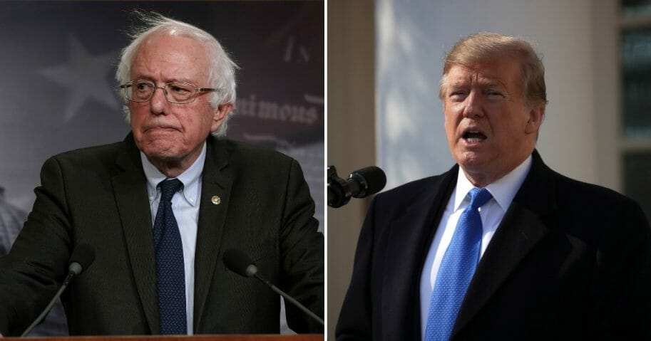 Sen. Bernie Sanders speaks during a news conference, left. President Donald Trump speaks on border security, right.