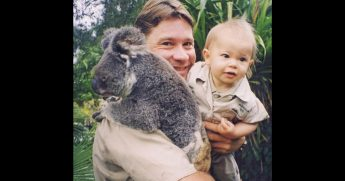 Bindi Irwin with Steve Irwin and a koala.