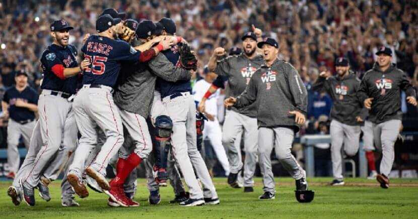Players for the Boston Red Sox celebrate after winning the World Series in Los Angeles on Oct. 28.