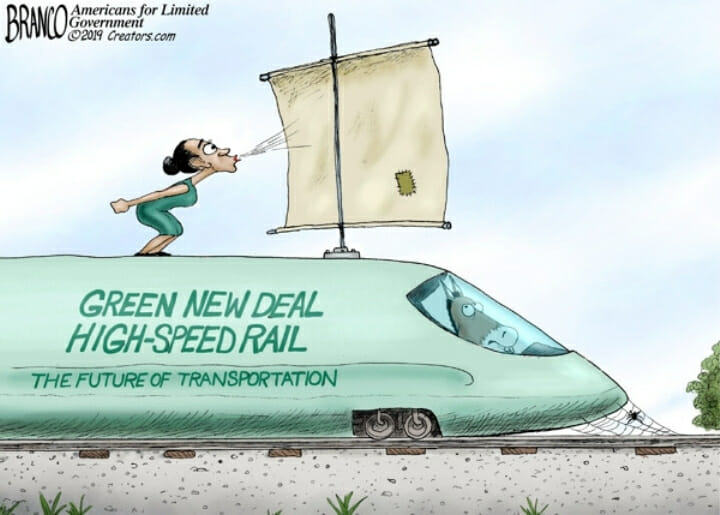 Alexandria Ocasio-Cortez blowing a sail on top of a train that reads Green New Deal.