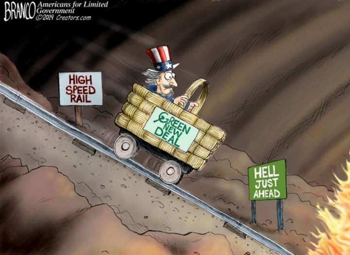 Uncle Sam riding a Green New Deal train