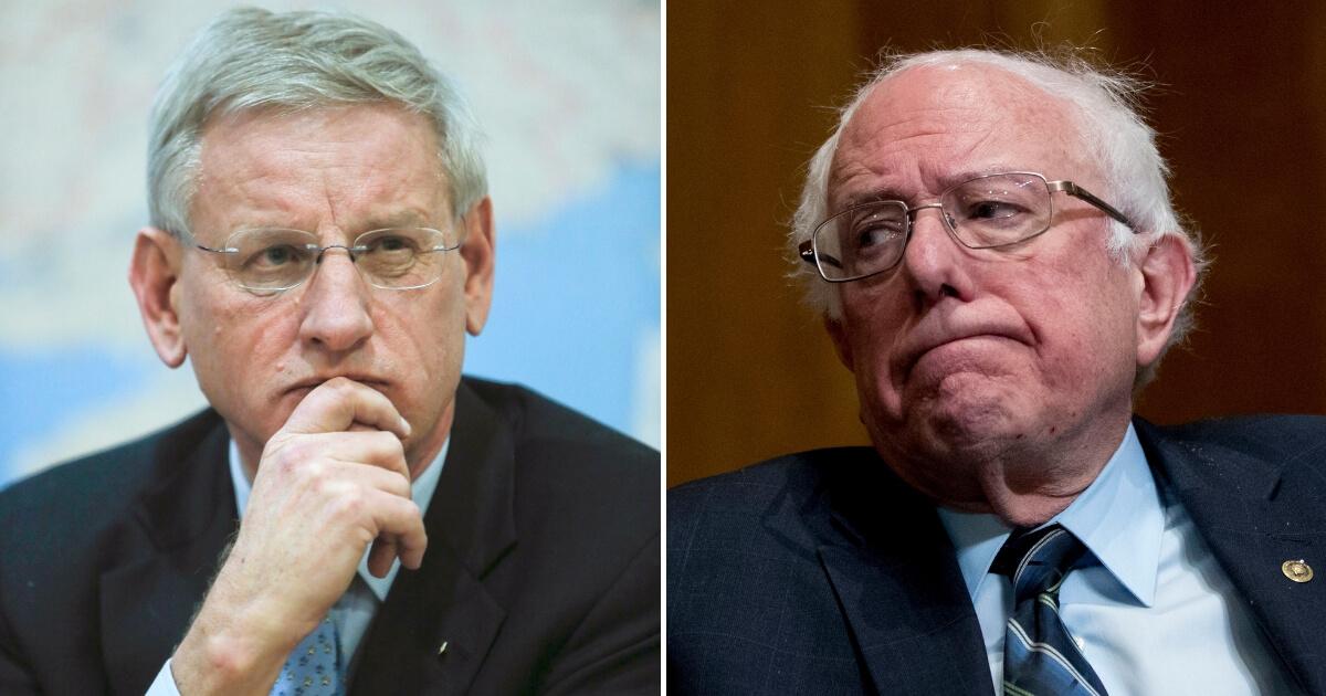 Sweden's Foreign Minister Carl Bildt and Sen. Bernie Sanders
