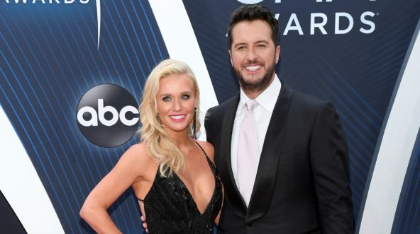 Caroline Boyer and singer-songwriter Luke Bryan attend the 52nd annual CMA Awards at the Bridgestone Arena on Nov. 14, 2018, in Nashville, Tennessee.
