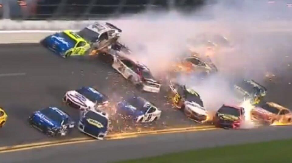 A multi-car crash in the closing laps of the Daytona 500 wiped out half the field still running.