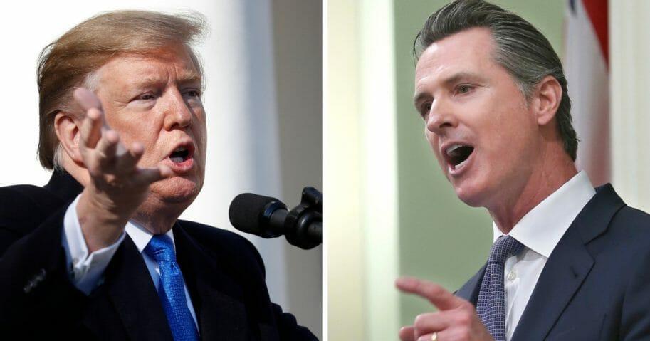 President Donald Trump, left, and California Gov. Gavin Newsom, right.