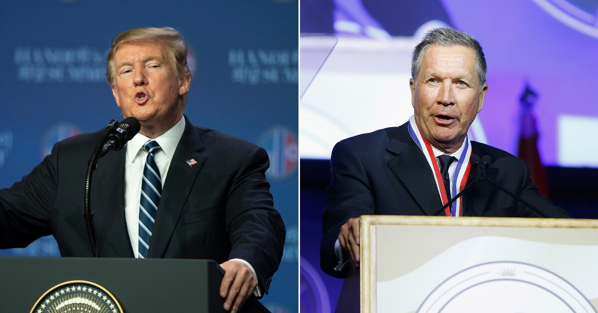 President Donald Trump speaks at a news conference, left, and Gov. John Kasich attends a medal of honor ceremony, right.