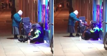 Elderly Woman Giving Food to Homeless