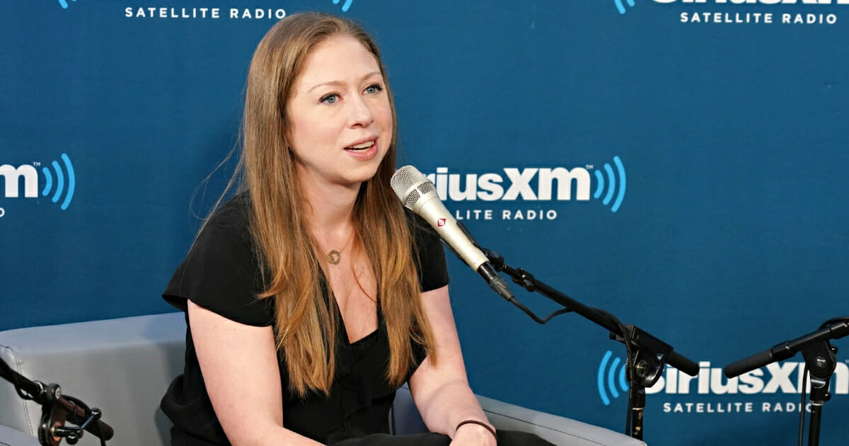 Chelsea Clinton speaks at SiriusXM with Nancy Northup and hosts Zerlina Maxwell and Jess McIntosh at the SiriusXM Studio on Sept. 13, 2018 in New York City.