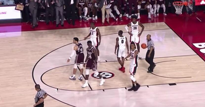 With 0.5 seconds left and the game tied at 67, a fan threw a promotional beanbag dog on the court while Mississippi State's Quinndary Weatherspoon was shooting the first of two free throws against Georgia.