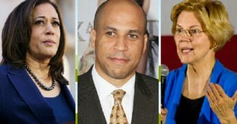 Sens. Kamala Harris, left, Cory Booker, center, and Elizabeth Warren, right.
