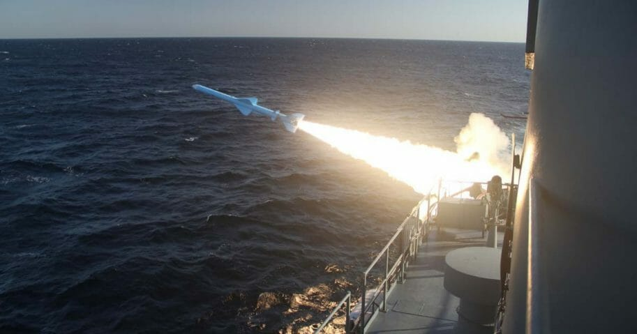 A handout photo made available by the Iranian Navy office on February 23, 2019, shows an Iranian Navy missile launch during a military drill in the Gulf of Oman.