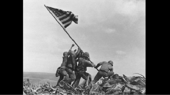 Photo of Marines raising the flag on Iwo Jima.