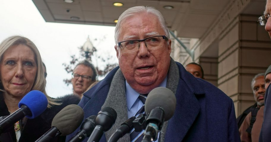 U.S. conservative political activist Jerome Corsi speaks outside the U.S. Federal District Courthouse in Washington on Jan. 3, 2019, after a hearing in his lawsuit against Russia collusion investigation chief Robert Mueller.