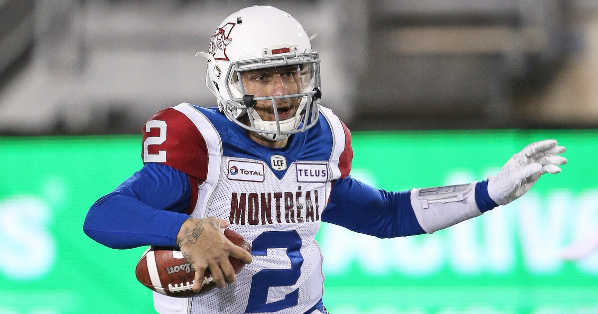Johnny Manziel of the CFL's Montreal Alouettes takes off with the ball during a game against the Hamilton Tiger-Cats on Nov. 3, 2018, at Tim Hortons Field in Hamilton.
