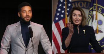 Jussie Smollett, left, and Nancy Pelosi, right