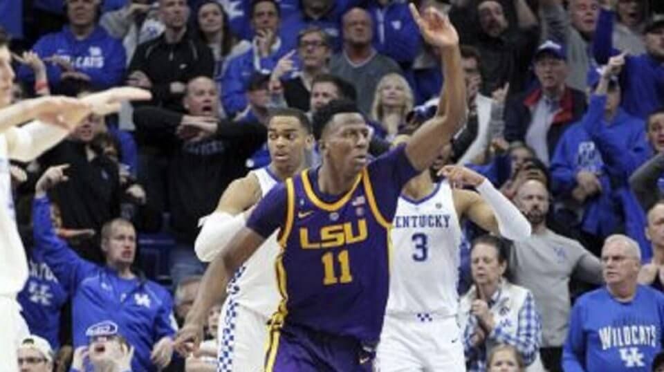 LSU's Kavell Bigby-Williams celebrates after tipping in the game winning shot against Kentucky in NCAA basketball action in Lexington, Kentucky, on Tuesday.