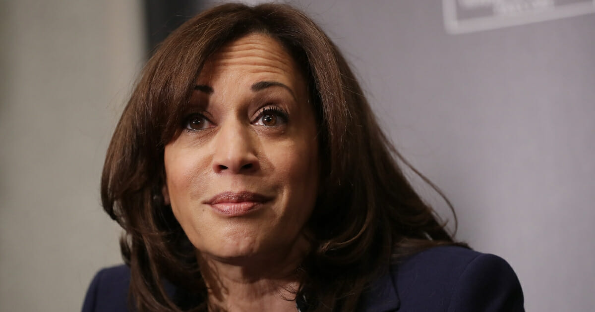 Democratic presidential candidate Sen. Kamala Harris (D-CA) participates in a interview and question-and-answer session with leaders from historically black colleges and universities during a Thurgood Marshall College Fund event at the JW Marriott Feb. 7, 2019, in Washington, D.C.