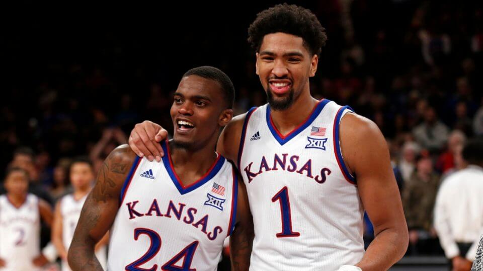 Lagerald Vick, left, and Dedric Lawson of the Kansas Jayhawks smile after defeating Tennessee in in the NIT Season Tip-Off tournament Nov. 24, 2018, in New York.