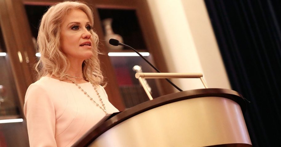 Kellyanne Conway, White House Counselor to President Donald Trump, speaks at the Yellow Ribbon Fund's 'Duty & Devotion' event at Trump International Hotel on Feb. 21, 2018, in Washington, D.C.