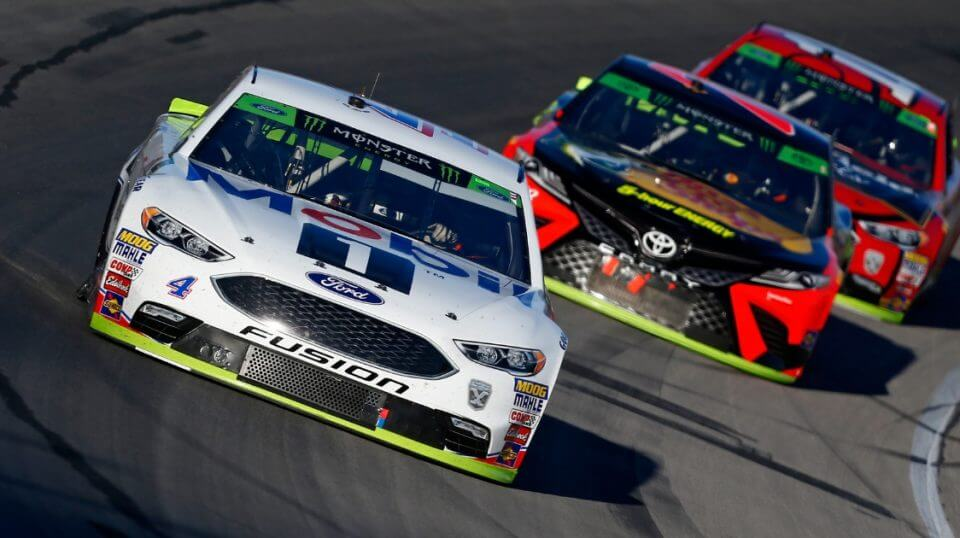 Kevin Harvick, driver of the No. 4 Mobil 1 Ford, leads a pack of cars during the Monster Energy NASCAR Cup Series AAA Texas 500 at Texas Motor Speedway on Nov. 4.