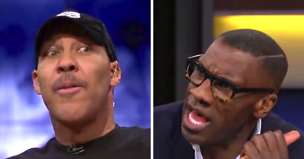 """LaVar Ball, left, appeared on FS1's """"Undisputed"""" Thursday and got host Shannon Sharpe, right, worked up."""
