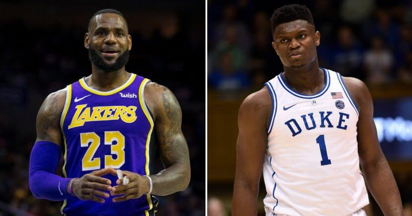 LeBron James, left, Zion Williamson, right.
