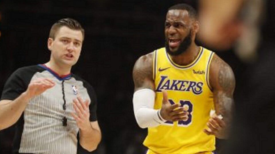 LeBron James argues with an official during Tuesday's game in Atlanta.
