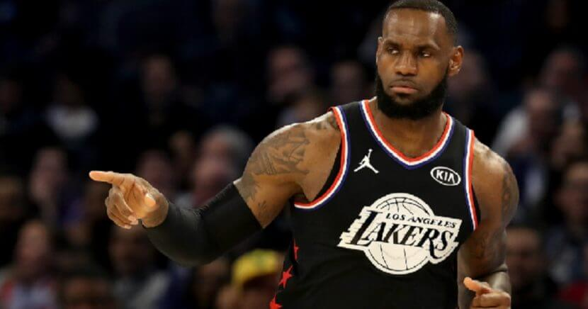 Los Angeles Lakes star LeBron James gestures on the court during the first half of Sunday's NBA All-Star Game in Charlotte, North Carolina.