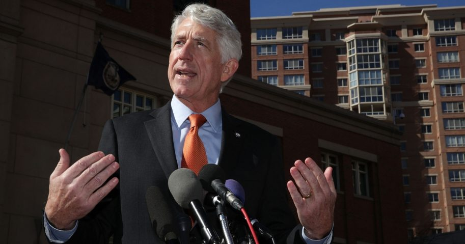 Virginia Attorney General Mark Herring speaks to members of the media after a hearing Feb. 10, 2017, in front of a U.S. District Court in Alexandria, Virginia.