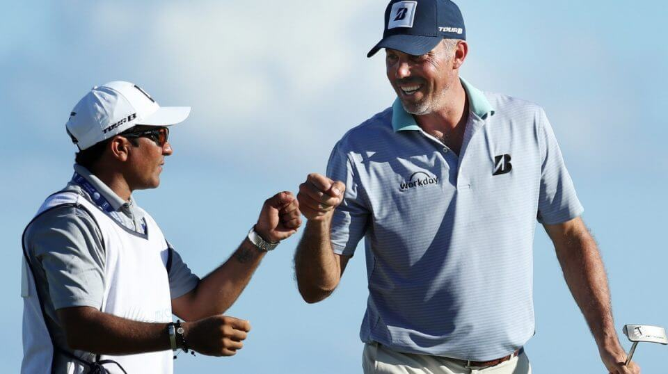 Matt Kuchar of the United States celebrates his birdie with his caddie on the 15th green during the second round of the Mayakoba Golf Classic at El Camaleon Mayakoba Golf Course on November 09, 2018 in Playa del Carmen, Mexico.
