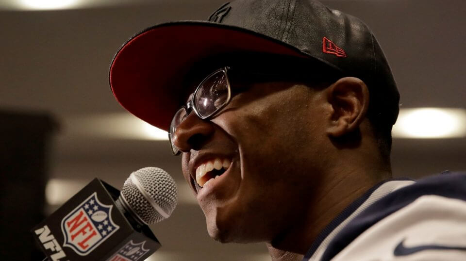 New England Patriots wide receiver Matthew Slater talks to reporters Feb. 1, 2017, before Super Bowl LI in Houston.