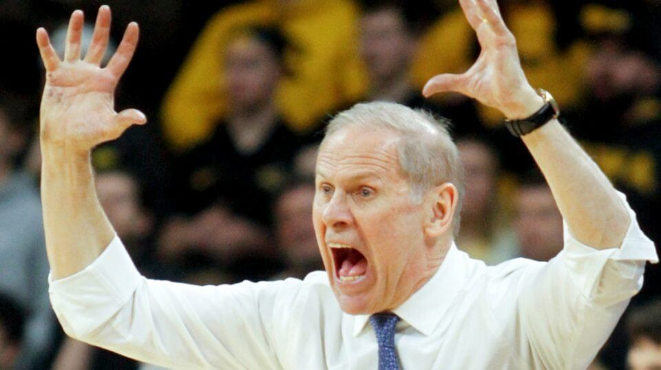 Head coach Jim Beilein of the Michigan Wolverines reacts to a call against the Iowa Hawkeyes on Friday at Carver-Hawkeye Arena.