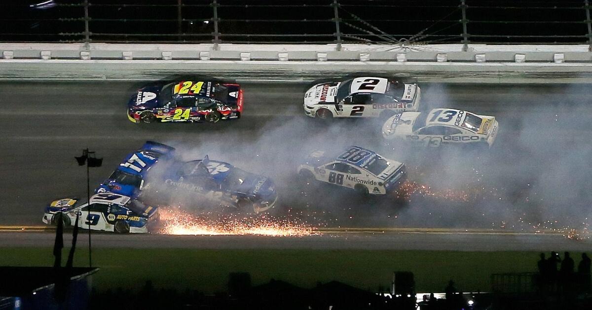 Chase Elliott, driver of the #9 NAPA Auto Parts Chevrolet, crashes during the Monster Energy NASCAR Cup Series 61st Annual Daytona 500 at Daytona International Speedway on February 17, 2019 in Daytona Beach, Florida.