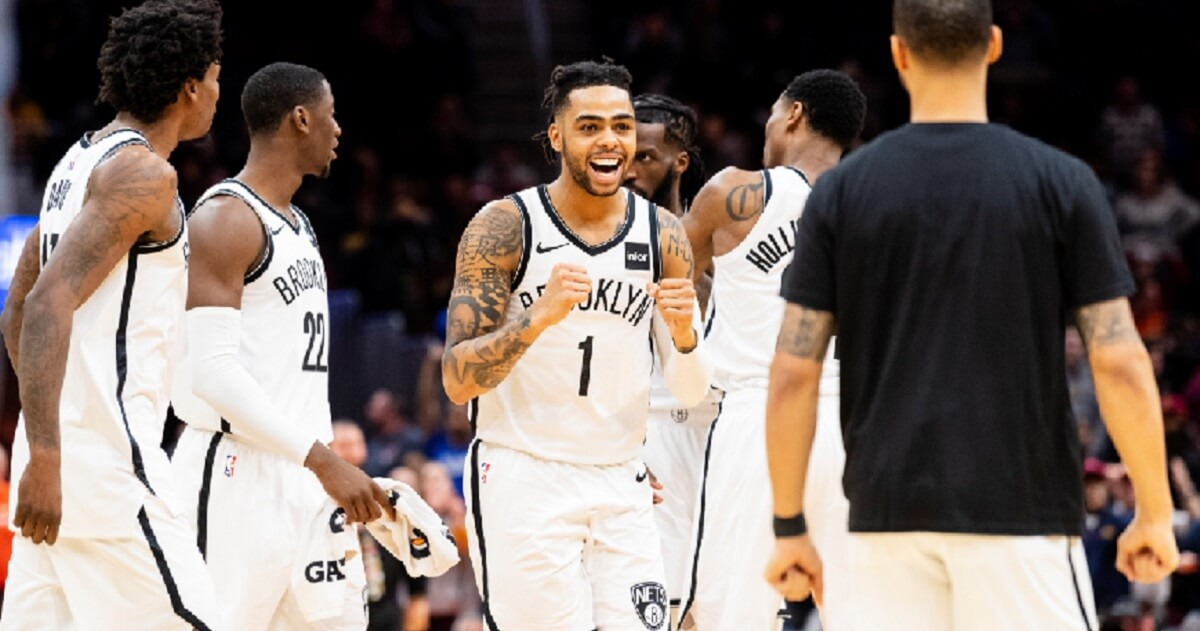 D'Angelo Russell of the Brooklyn Nets cheers after the Nets scored to go into triple overtime against the Cleveland Cavaliers at Quicken Loans Arena on Wednesday in Cleveland.