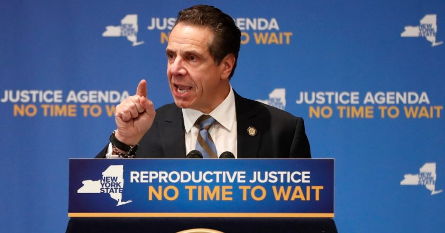 New York Gov. Andrew Cuomo speaks on Jan. 7, 2019, during an appearance with former Secretary of State Hillary Clinton where both Democrats called for codifying abortion rights into New York State law during a joint appearance at Barnard College in New York.