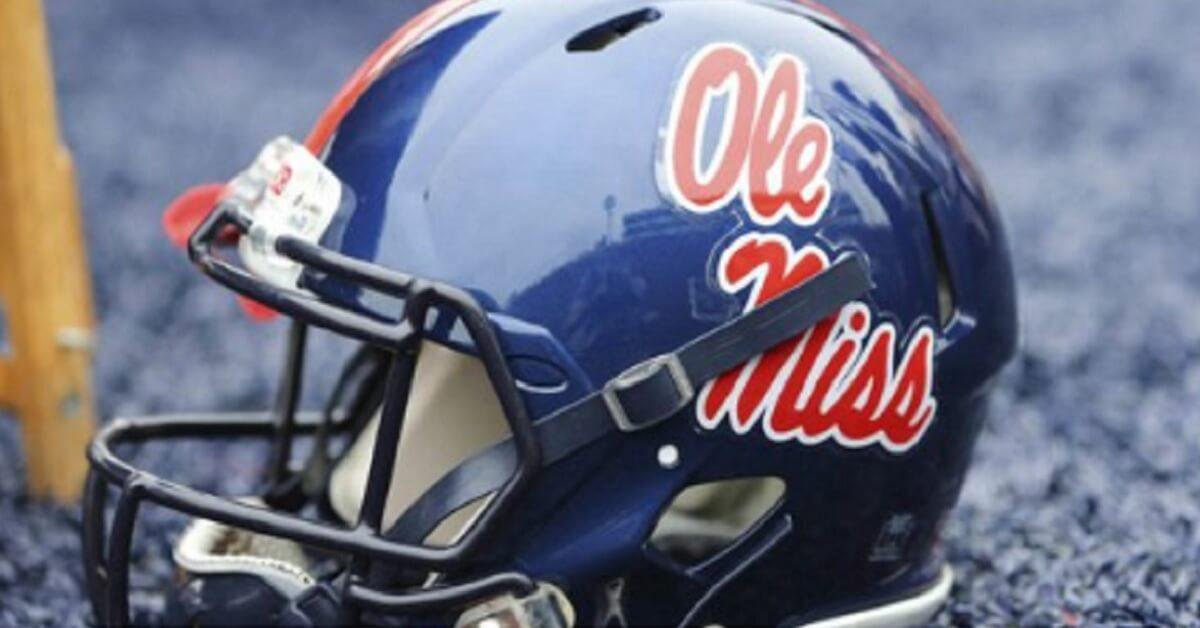 An Ole Miss football helmet
