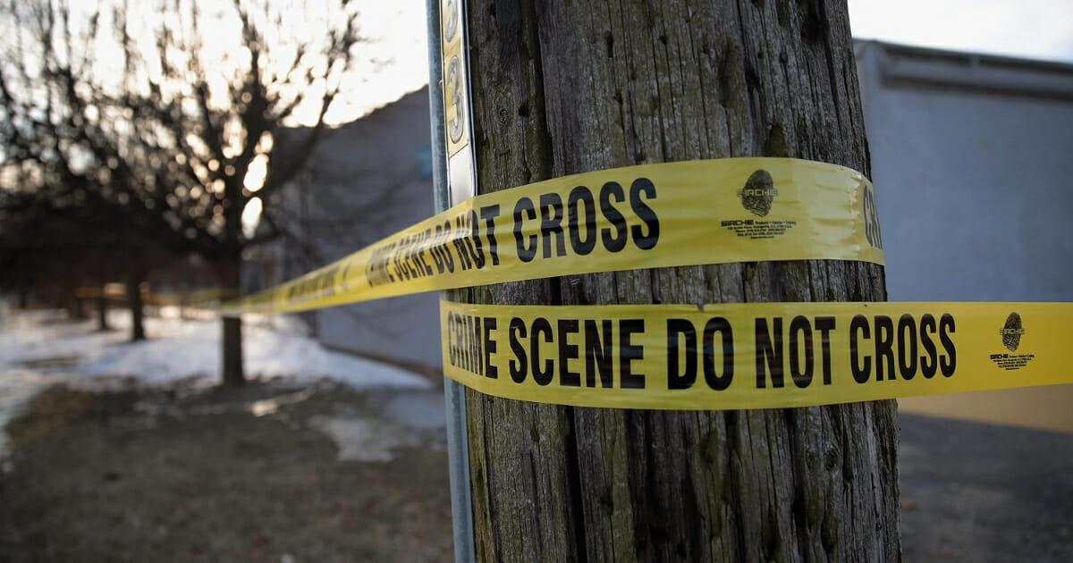 Crime scene tape surrounds the Shetland Business Park