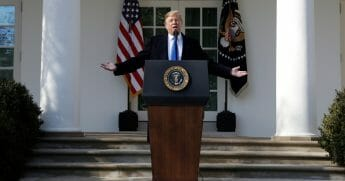 President Donald Trump speaks during an event in the Rose Garden at the White House to declare a national emergency in order to build a wall along the southern border.