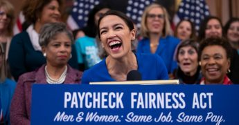 Rep. Alexandria Ocasio-Cortez, D-N.Y., smiles as she speaks at an event to advocate for the Paycheck Fairness Act.