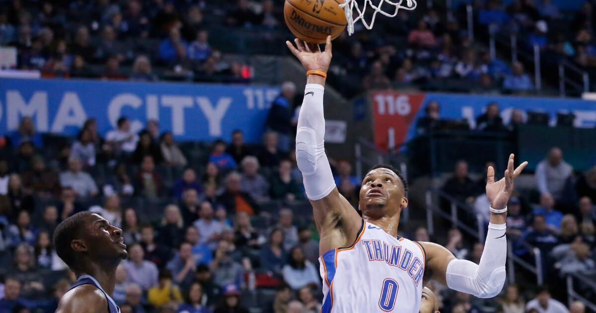 Oklahoma City Thunder guard Russell Westbrook shoots against the Memphis Grizzlies during a game Thursday.