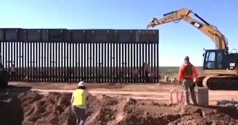 A section of wall goes up along the U.S.-Mexico border.