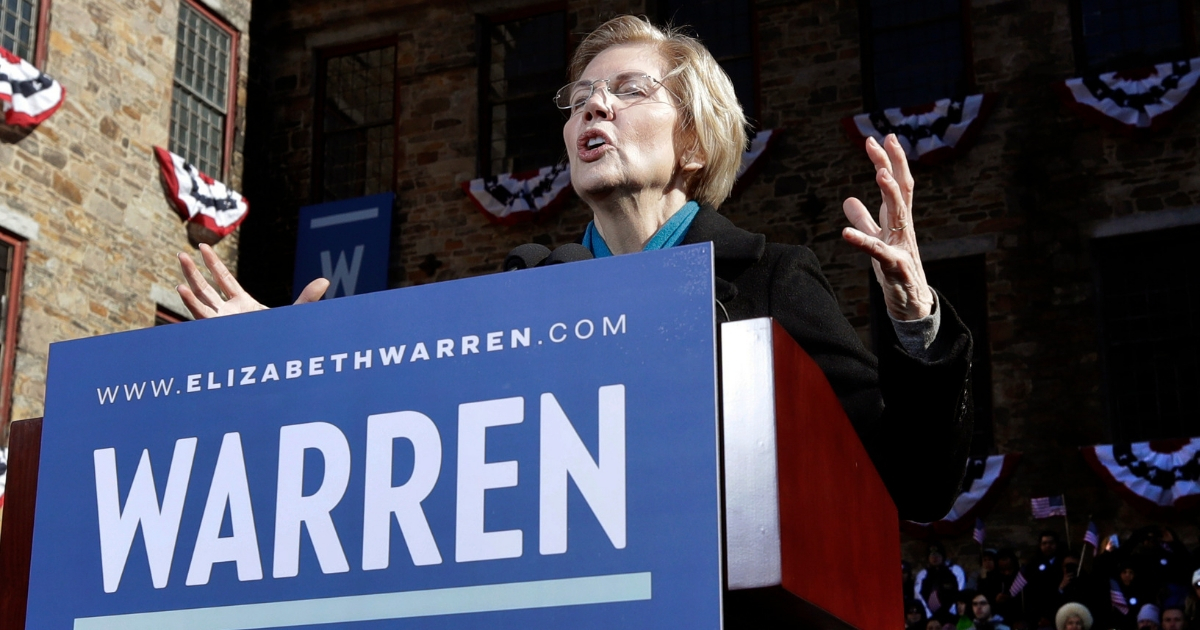 Sen. Elizabeth Warren, D-Mass., speaks during an event to formally launch her presidential campaign, Feb. 9, 2019, in Lawrence, Massachusetts.