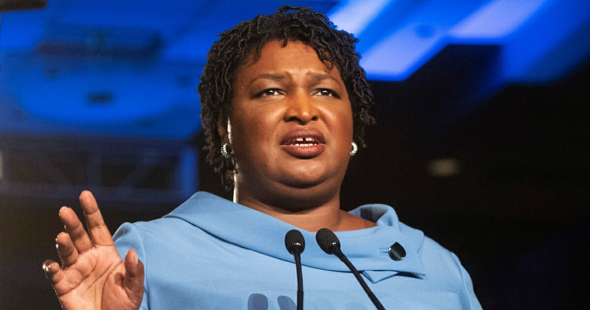 Georgia Democratic gubernatorial candidate Stacey Abrams addresses supporters during an election night watch party.