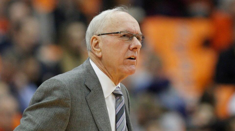 Syracuse basketball coach Jim Boeheim looks on during his team's game against Louisville on Wednesday.