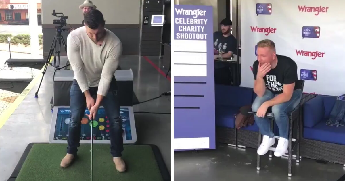 """Tim Tebow dropped a great zinger while swinging away at a Top Golf with the crew of """"The Pat McAfee Show."""""""