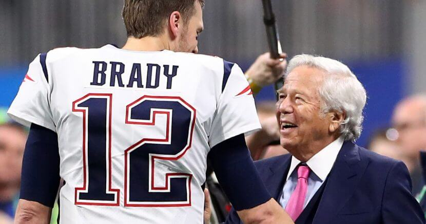 Tom Brady of the New England Patriots speaks with owner Robert Kraft prior to Super Bowl LIII against the Los Angeles Rams at Mercedes-Benz Stadium in Atlanta on Feb. 3.