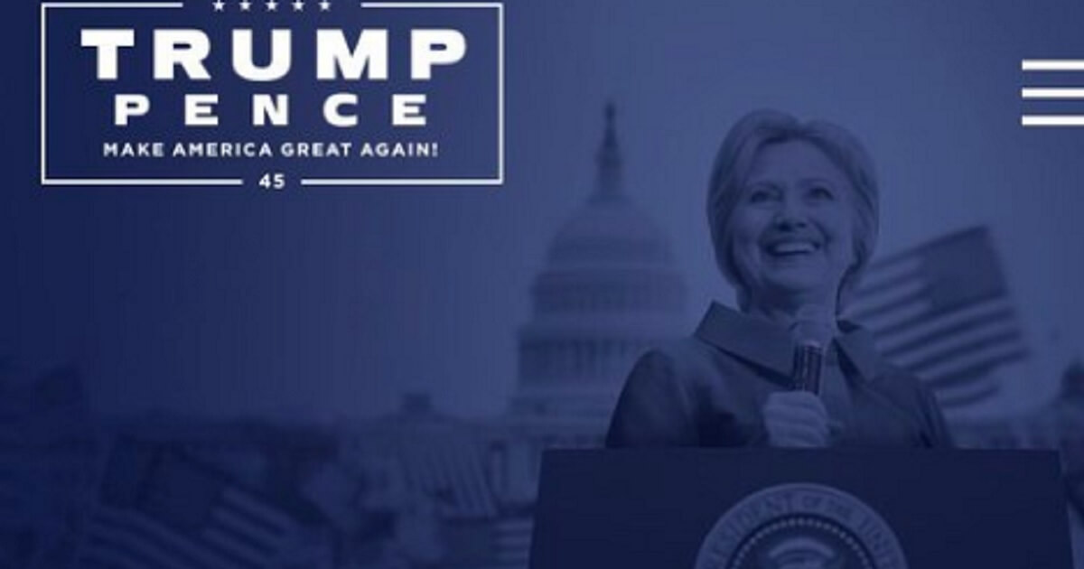 Hillary is pictured behind a lecturn bearing the presidential seal.