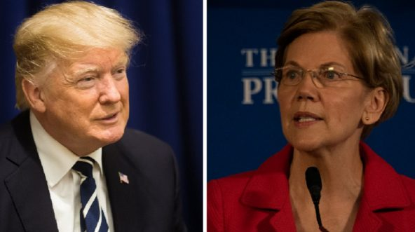 President Donald Trump, left; and Massachusetts Sen. Elizabeth Warren, right.