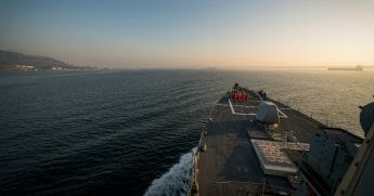 The guided-missile destroyer USS Donald Cook transits the Dardanelles Strait on Tuesday.