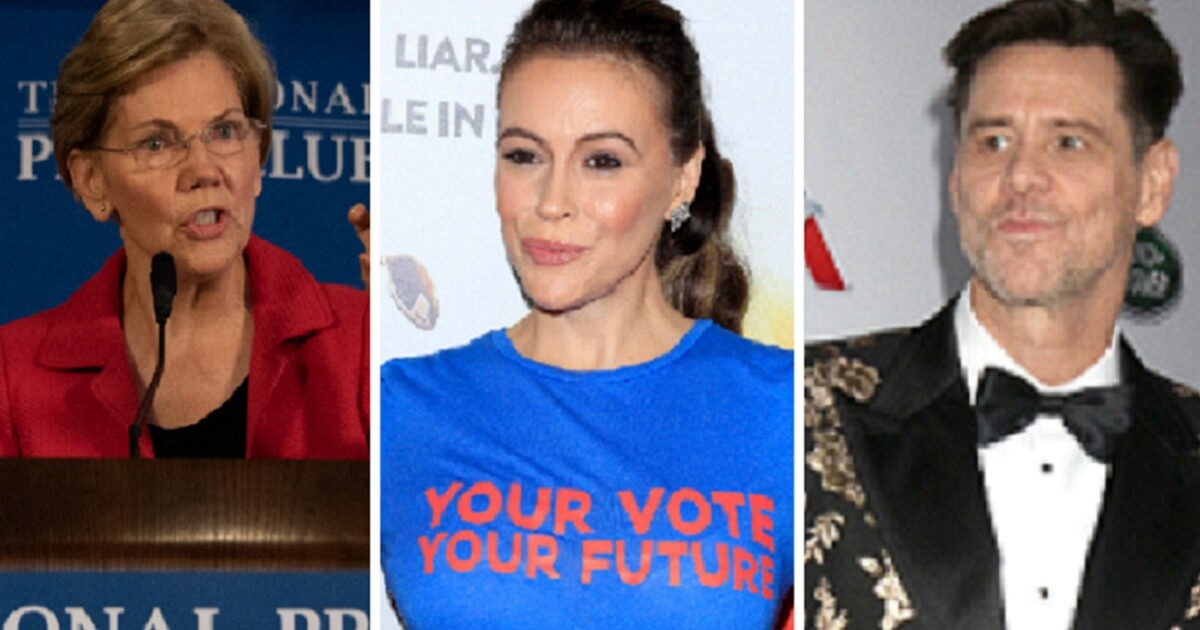 Sen. Elizabeth Warren, left, actress Alysssa Milano, center, and actor/comedian Jim Carrey are all among potential targets in a lawsuit on behalf of the teens from Covington Catholic High School.